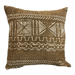 African Mudcloth Throw Pillow in Mustard For Sale