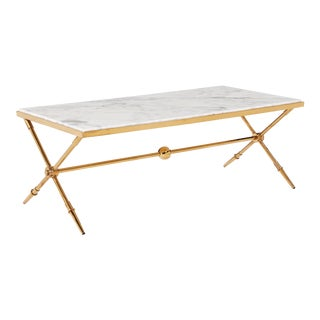 Blink Home Marble-Top Antique Gold Cocktail Table For Sale