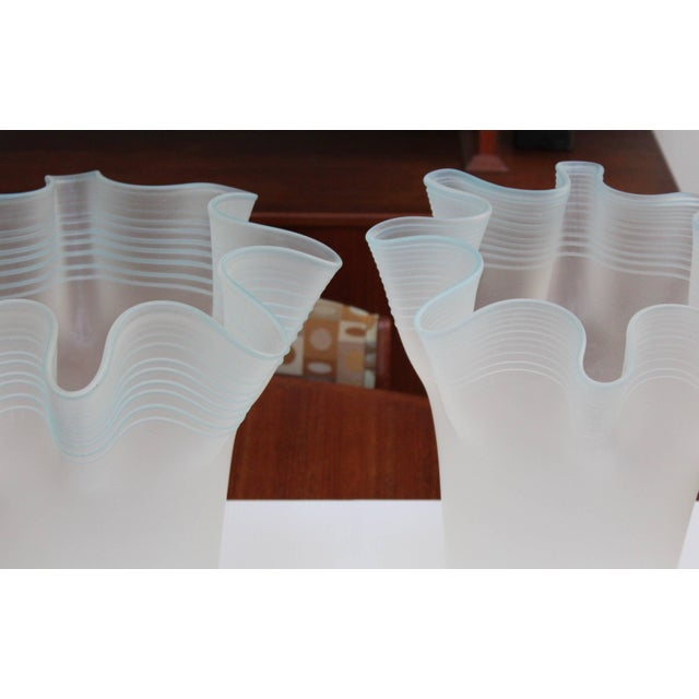 Mid 20th Century Large Frosted Glass Handkerchief Italian Vases For Sale - Image 5 of 11