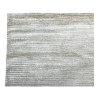 Contemporary Tone on Tone Striped Rug White (10x13,6)