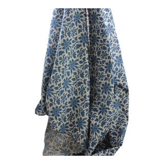 Antique 1880s French Arts and Crafts Printed Cotton Blue Floral Fabric For Sale