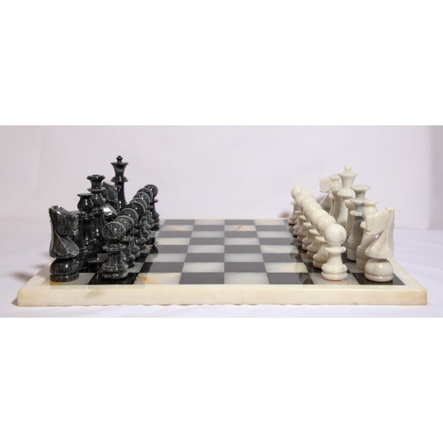 Vintage Marble Chess Board With Hand Carved Black and White Onyx Chess Pieces For Sale In Los Angeles - Image 6 of 13