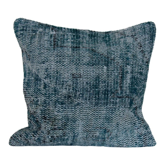 Large Over Dyed Distressed Teal Turquoise Hand-Knotted Rug Pillow For Sale