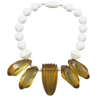 Angela Caputi Italy Choker Necklace White Lucite Beads and Apple Juice Resin For Sale