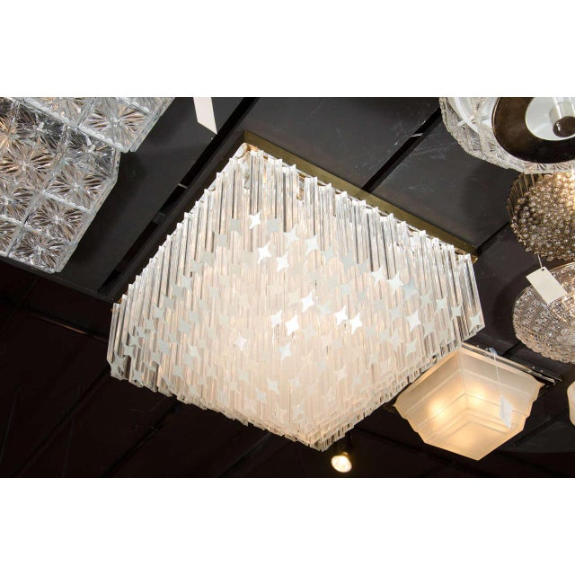 Mid-Century Modernist Crystal Flush Mount Chandelier by Camer For Sale In New York - Image 6 of 7