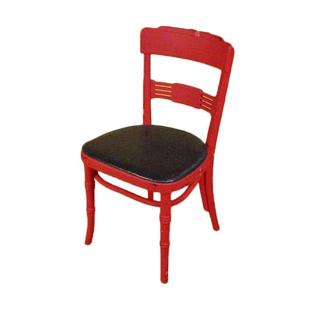 """Red painted oak Art Deco dining chair used in the 1952 film """"Bus Stop"""" starring """"Marilyn Monroe"""". These chairs can be..."""