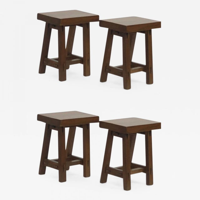 1950s Style of Pierre Jeanneret Set of 4 Organic Oak Stools For Sale - Image 5 of 5