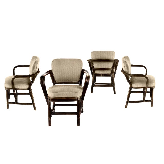 Last Call Boho Chic McGuire Bamboo Rattan and Leather Dining Chair For Sale