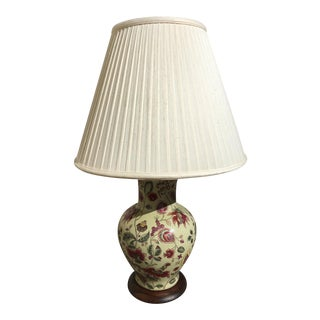 Chinoiserie Frederick Cooper Hand Painted Porcelain Ginger Jar Lamp With Original Shade For Sale