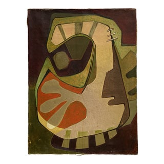 Circa 1950s Abstract Biomorphic Geometric Style Double-Sided Oil Painting For Sale