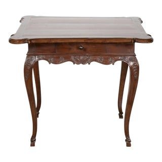 18th Century French Period Regence Hand-Carved Walnut Lyonnaise Side Table For Sale