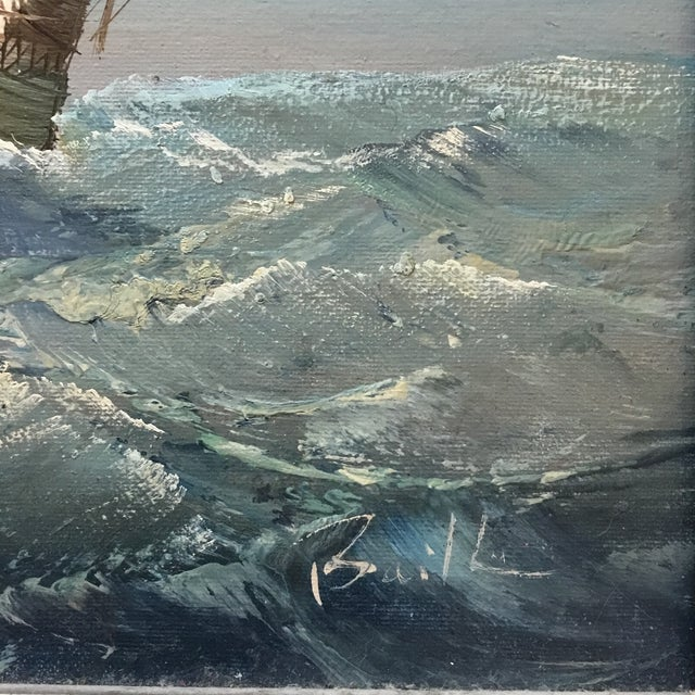 Mid 20th Century Mid 20th Century Vintage Detailed Clipper Ship Original Oil Painting For Sale - Image 5 of 7