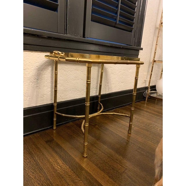 Brass Vintage Hollywood Regency Brass Bamboo Tray Table For Sale - Image 8 of 11