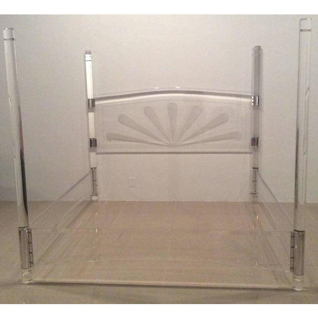 Transparent Mid-Century Lucite & Chrome Four Post Canopy King Size Bed For Sale - Image 8 of 11
