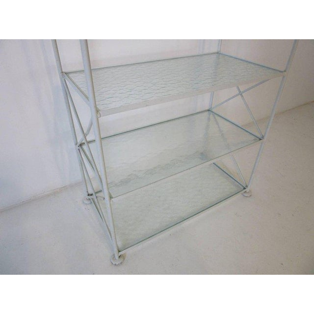 Russell Woodard Russell Woodard Iron and Glass Etagere or Bookcase For Sale - Image 4 of 7
