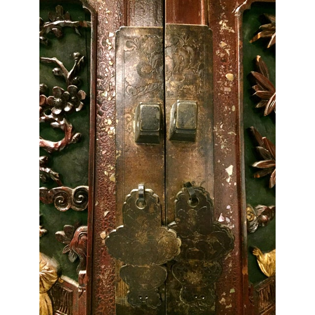 Antique Chinese Carved Gilded With Mother of Pearl Cabinet For Sale - Image 9 of 12