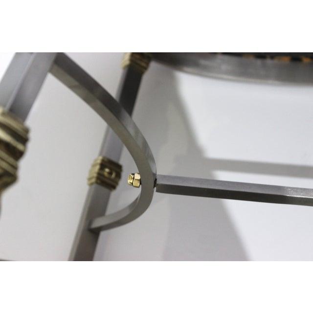 Vintage Maison Jansen Style Oval Stool Polished Steel & Brass Leopard Upholstery For Sale - Image 12 of 13