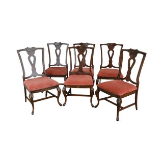 Lane Floral Paint Decorated Set 6 Provincial Style Dining Chairs For Sale