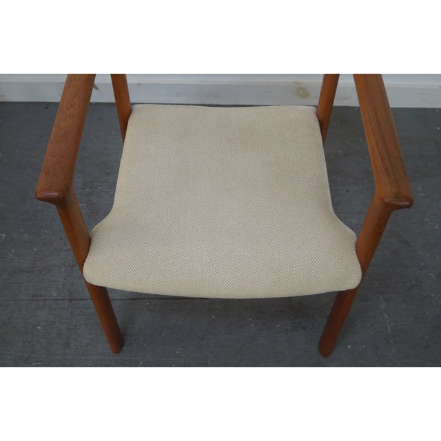 White Danish Modern Teak Arm Chairs - Pair For Sale - Image 8 of 9