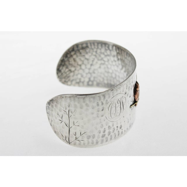 Arts & Crafts Arts and Crafts Handmade Sterling Silver and Mixed Metal Owl Cuff Bracelet For Sale - Image 3 of 6