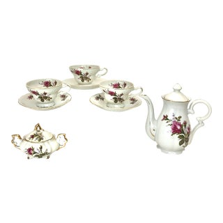 Rosemarie Pink Rose Tea Service for 3 - 9 Piece Set For Sale
