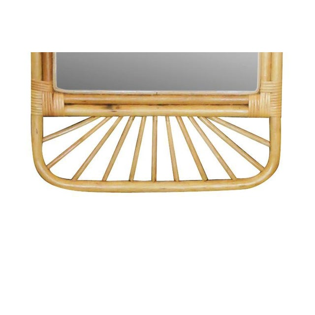 Mid-Century Rattan Wall Mirror with Wicker Wrappings - Image 5 of 5