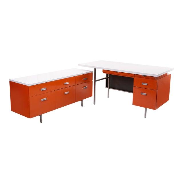 George Nelson Herman Miller Modern Management Desk & Return - 2 Pc. Set For Sale