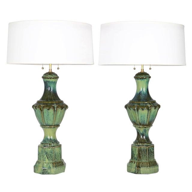 Lustre-Glaze Porcelain Baluster Lamps - A Pair - Image 1 of 4