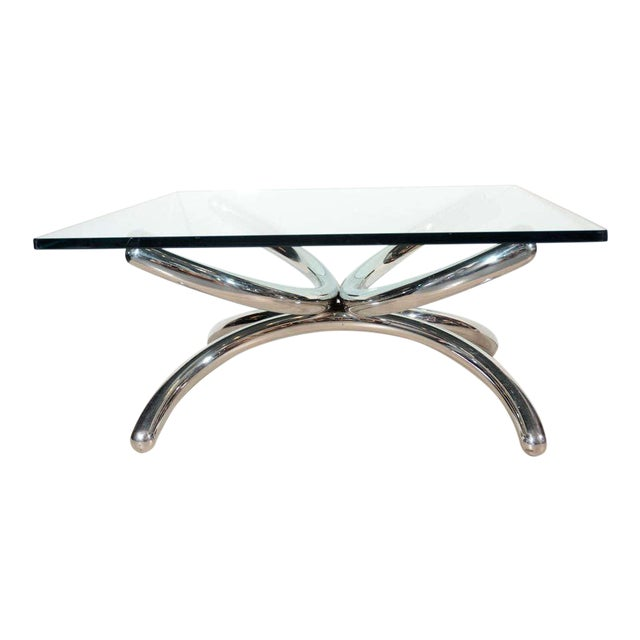 Italian mid-century modern coffee table with architectural tubular base. Artist sculpted design in chrome polished steel,...