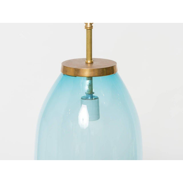 """Large art blown glass fixture. Solid brass hardware. Unlacquered. Height to brass hardware (without chain and canopy): 18""""..."""