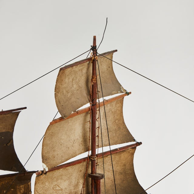 Late 19th Century Handmade Wooden Ship Model From France For Sale - Image 4 of 5