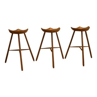 Mogens Lassen Style Three-Legged Bar Stools - Set of 3 For Sale