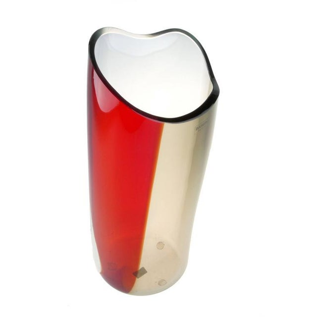 1980s Original Alfredo Barbini Handblown Murano Glass Vase For Sale - Image 5 of 8
