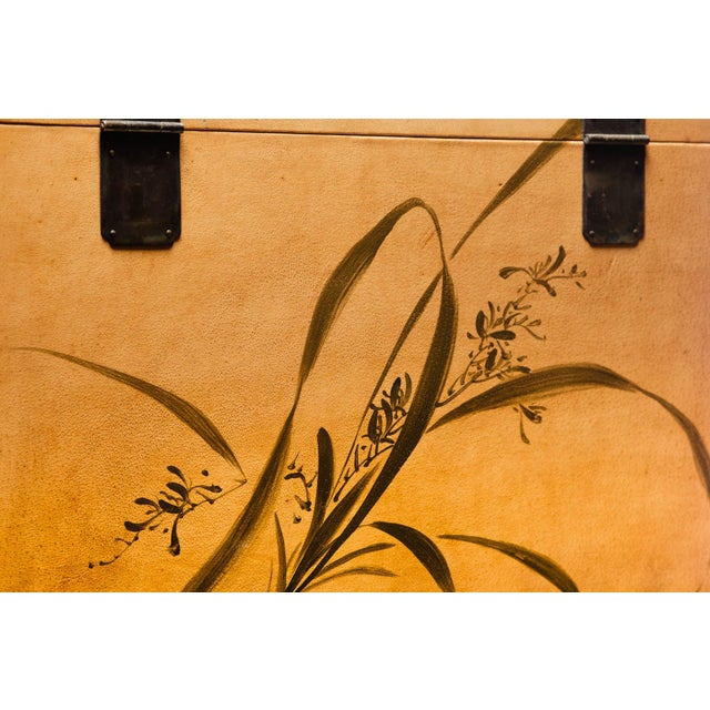 Hand-Painted Natural Tan Leather Box on Handcrafted Brass Stand as Side Table For Sale In Seattle - Image 6 of 11