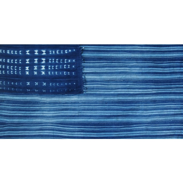 """Early 21st Century Boho Chic Indigo Blue & White Flag From African Textiles 60"""" X 35"""" For Sale - Image 5 of 7"""