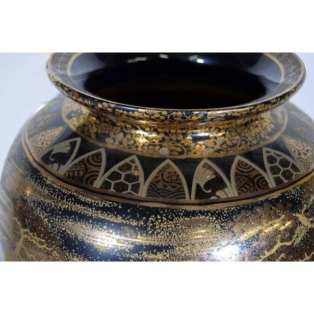 Vintage Hand-Painted Black Gilt Porcelain Vase from 1980s, China For Sale In New York - Image 6 of 10