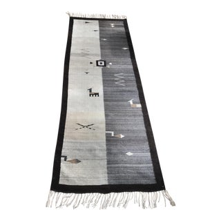 1990s Mexican Zapotec Hand-Knotted Runner Rug - 3′ × 8′10″ For Sale