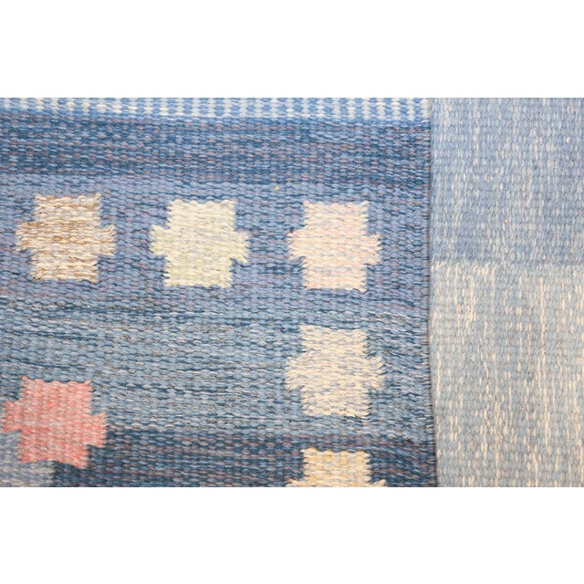 Blue Vintage Swedish Kilim Rug by Anna-Joanna Angstrom - 5′6″ × 7′9″ For Sale - Image 8 of 9