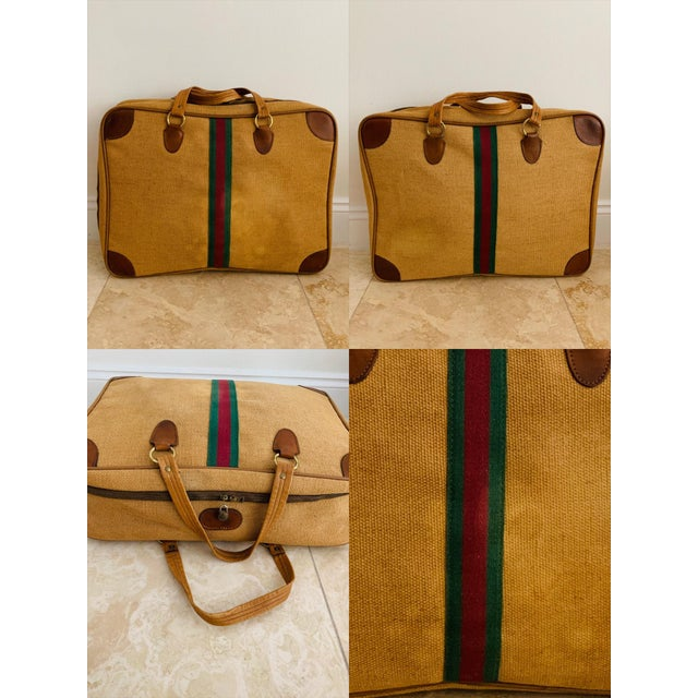 Vintage Italian Style Set of Luggage Jute and Leather, Set of 3 For Sale - Image 10 of 13