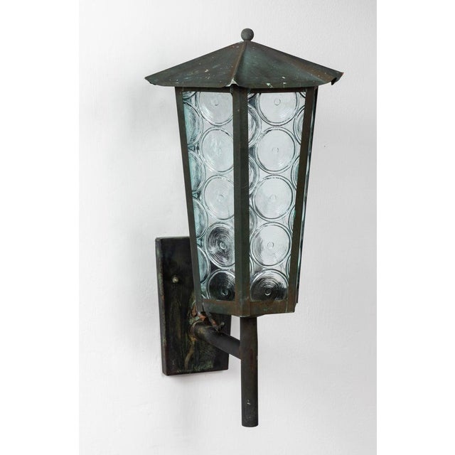 1950s Large Scandinavian Outdoor Wall Lights in Patinated Copper and Glass - a Pair For Sale In Los Angeles - Image 6 of 13