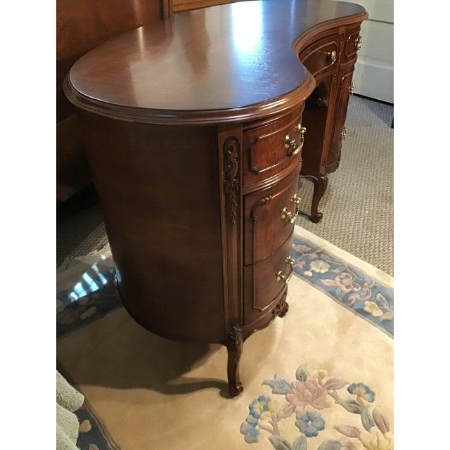 Victorian 19th Century Style Walnut Burl Kidney Desk/Vanity For Sale - Image 3 of 13