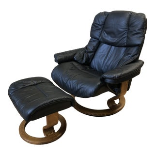 Stressless Reno Leather Chair + Ottoman From Ekornes For Sale
