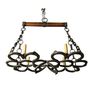 Wrought Iron Horseshoe Chandelier For Sale