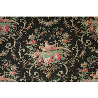 French Black Ground Floral And Bird Fabric For Sale