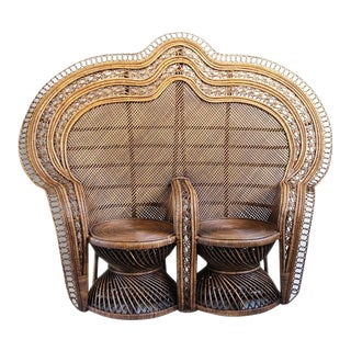 Contemporary Wicker Double Peacock Chair For Sale