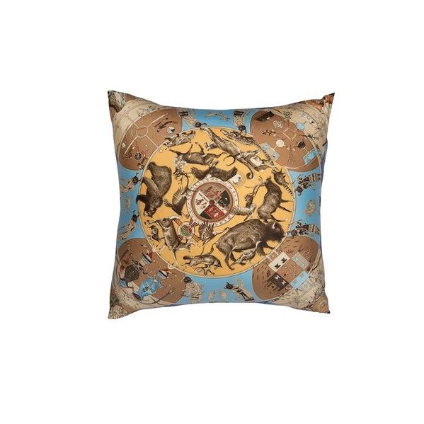 """Contemporary """"Les Mythologies Des Hommes Rouges"""" Hermès Silk Scarf Pillow For Sale - Image 3 of 3"""