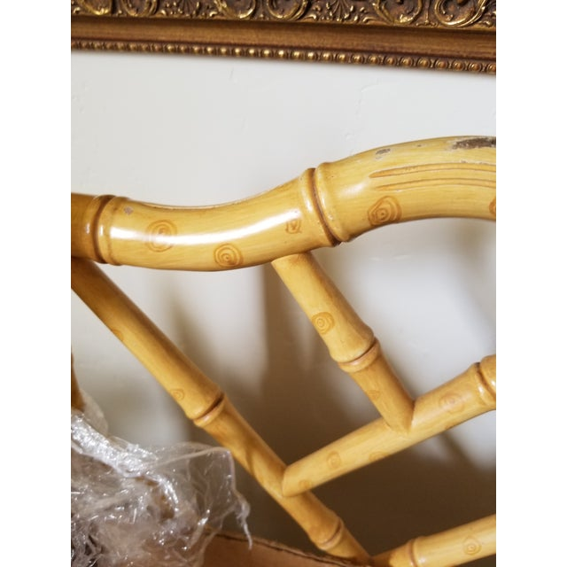 Set of Four Faux Bamboo Carved Wood Chairs For Sale - Image 12 of 12