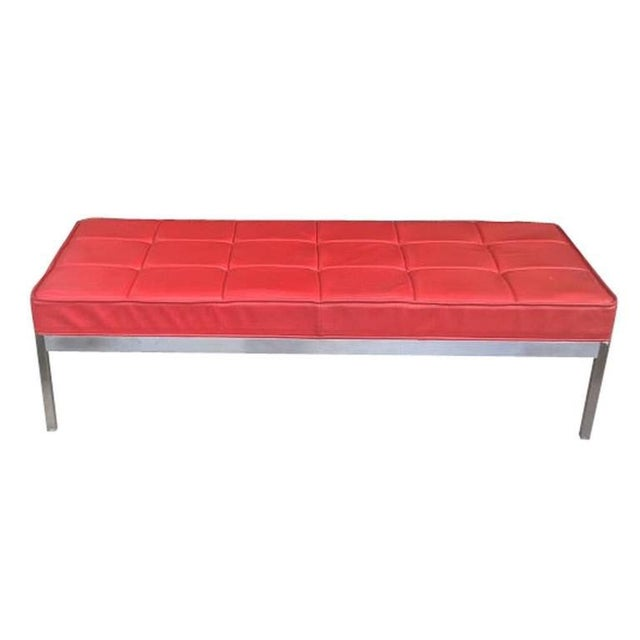 1960s Mid-Century Modern Florence Knoll Style Red Leather Chrome Bench For Sale - Image 10 of 10