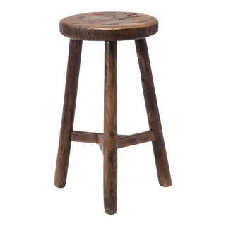 19th Century Chinese Burl Top Tri-Leg Stool For Sale