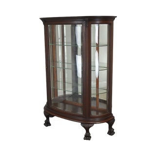 Antique Victorian Mahogany Bow Front Claw Foot China Cabinet For Sale